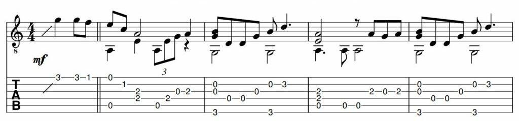 Weeping Song Guitar Tab