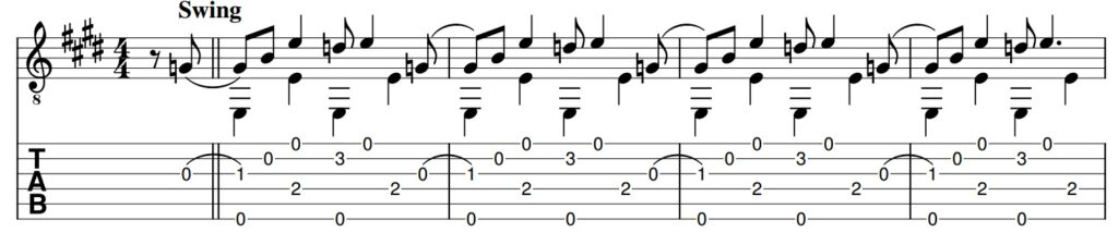 Rolling E Blues guitar tab